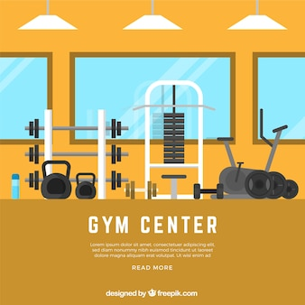 Fundo de ginásio de esporte com máquinas de exercícios em estilo simples