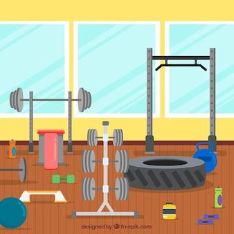 Fundo de ginásio de esporte com máquinas de exercícios