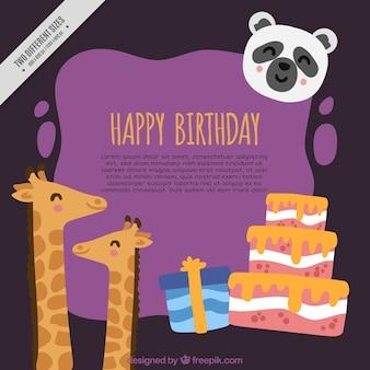 Fundo de girafas com presentes e um bolo