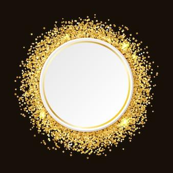 Fundo de glitter dourados com espaço para texto. modelo para promoção de boate, glamour. moldura ouro glitter