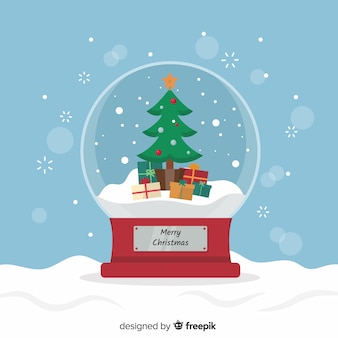 Fundo de globo de bola de neve de natal em design plano