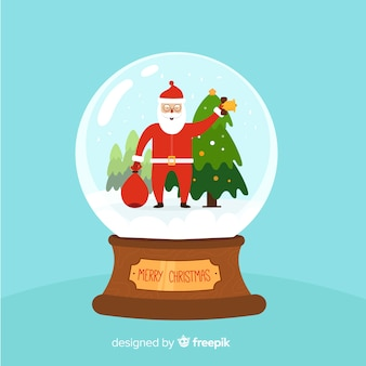 Fundo de globo de bola de neve de natal