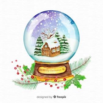 Fundo de globo de neve de natal em aquarela