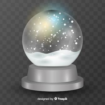 Fundo de globo de neve de natal realista