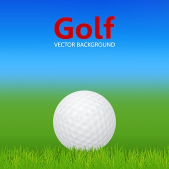 Fundo de golfe - bola de golfe 3d realista na grama.