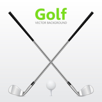 Fundo de golfe - dois clubes de golfe cruzados e bola no tee.