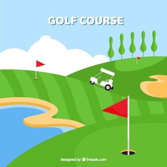 Fundo de golfe plano com cadinho