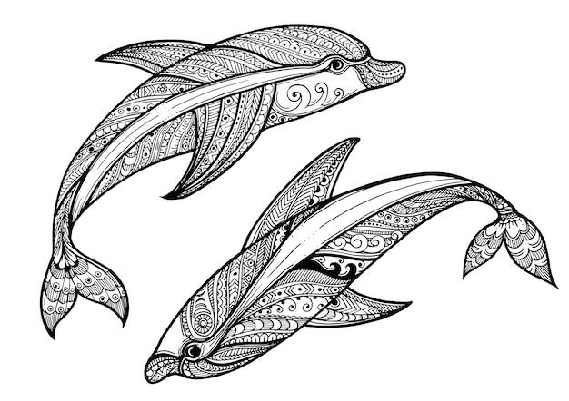 Fundo de golfinho de mão desenhada