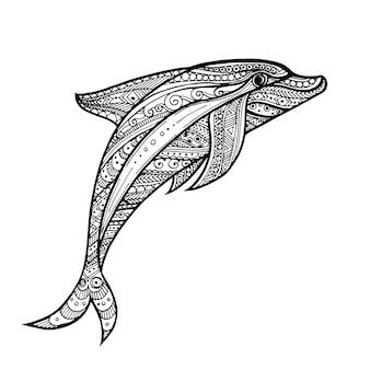 Fundo de golfinho do mar de mão desenhada