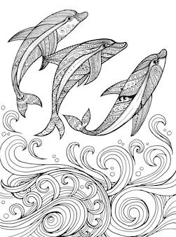 Fundo de golfinhos de mão desenhada