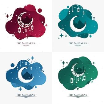 Fundo de gradação líquida eid mubarak