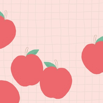 Fundo de grade de borda de canto de maçã de vetor