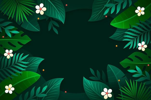 Fundo de gradiente de folhas tropicais