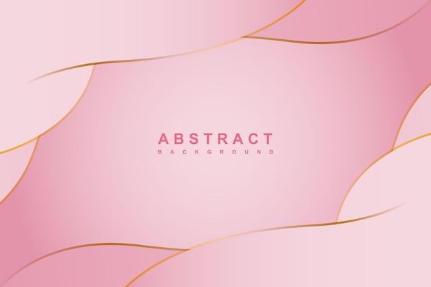 Fundo de gradiente rosa abstrato com elemento dourado de linhas onduladas