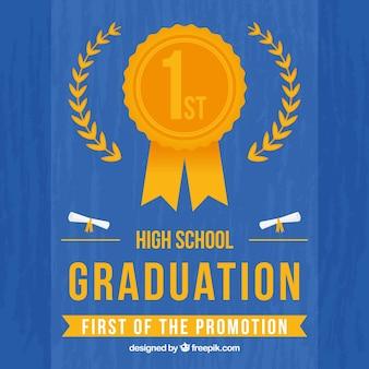 Fundo de graduação azul com medalha de ouro