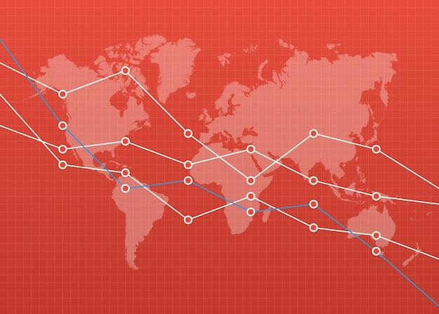 Fundo de gráfico gráfico financeiro com mapa-múndi Vetor Premium