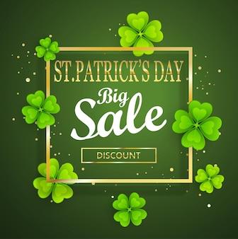 Fundo de grande venda do dia de são patrício, modelo de cartaz. fundo abstrato verde com trevos folhas ornamentos. 17 de março. ilustração em vetor.