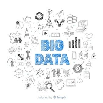 Fundo de grande volume de dados de mão desenhada