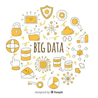 Fundo de grande volume de dados doodle