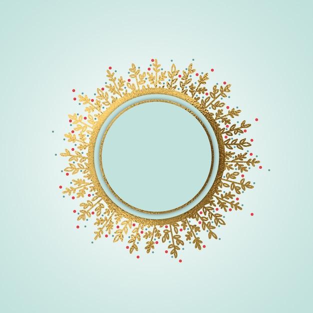 Fundo de grinalda de círculo de natal ouro mão desenhada