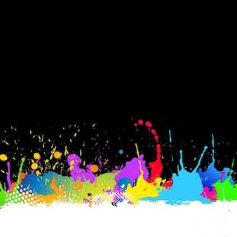 Fundo de grunge com splats coloridos da pintura