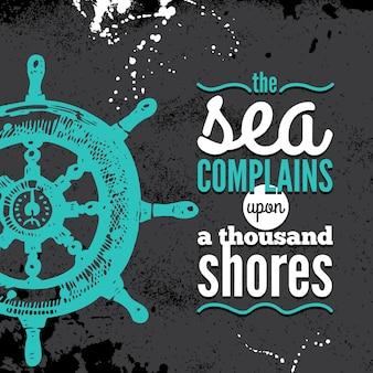 Fundo de grunge de viagens. desenho náutico de mar. mão-extraídas ilustração texturizada do esboço. design tipográfico