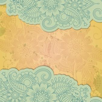 Fundo de grunge floral mehendi indiano de henna
