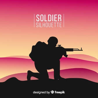 Fundo de guerra com silhuetas de soldados