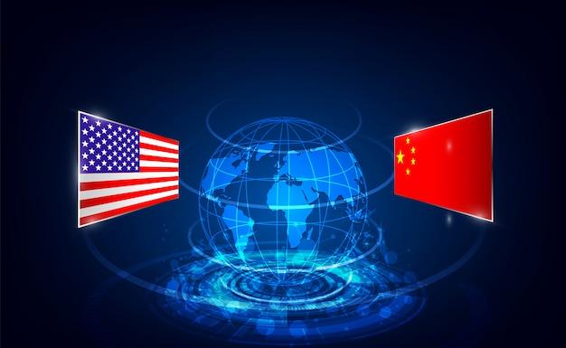 Fundo de guerra comercial eua e china