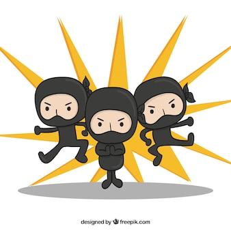 Fundo de guerreiro ninja mão desenhada