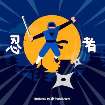 Fundo de guerreiro ninja tradicional com design liso