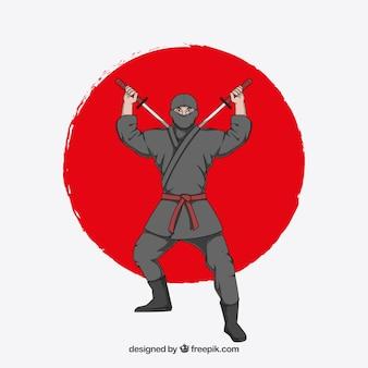 Fundo de guerreiro ninja tradicional mão desenhada