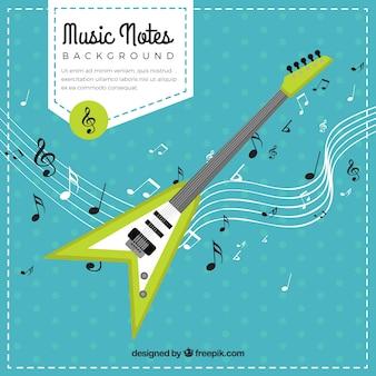 Fundo de guitarra elétrica com notas musicais