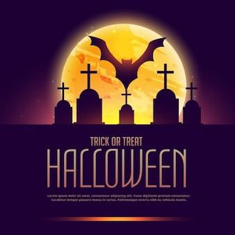 Fundo de halloween assustador com grave e bastão