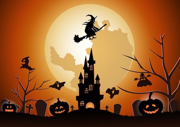 Fundo de halloween com a bruxa voando com vassoura mágica