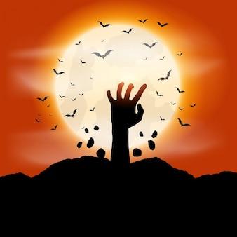 Fundo de halloween com a mão zombie saindo do chão