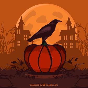 Fundo de halloween com abóbora e corvo