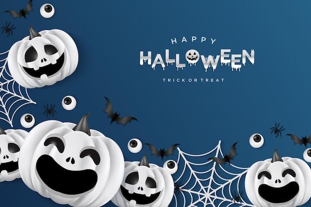 Fundo de halloween com abóboras e teias de aranha