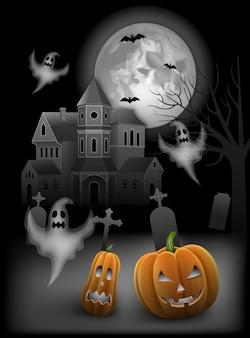 Fundo de halloween com abóboras, morcegos, fantasmas e casa mal-assombrada