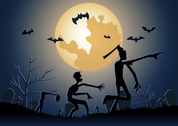 Fundo de halloween com caminhada de zumbis no cemitério