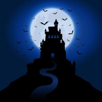 Fundo de halloween com casa assombrada assustador