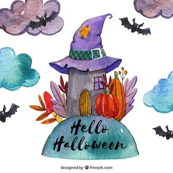 Fundo de halloween com casa de bruxas de aquarela