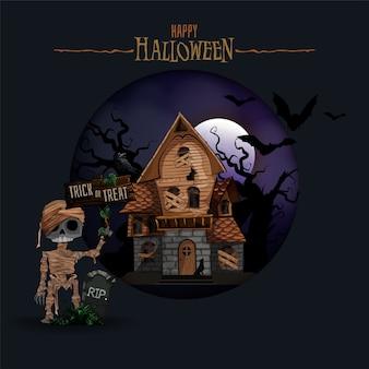 Fundo de halloween com casa mal-assombrada, morcegos e cemitério