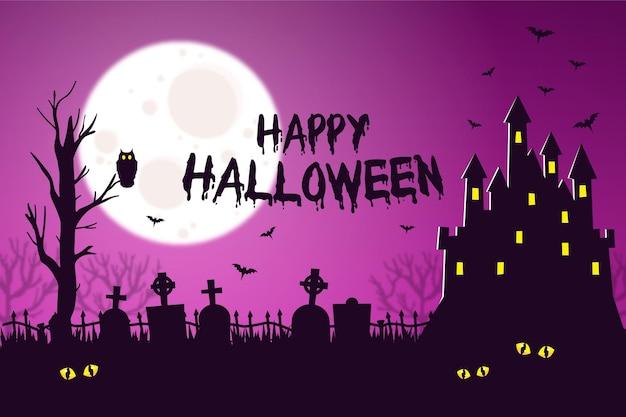 Fundo de halloween com castelo e morcegos