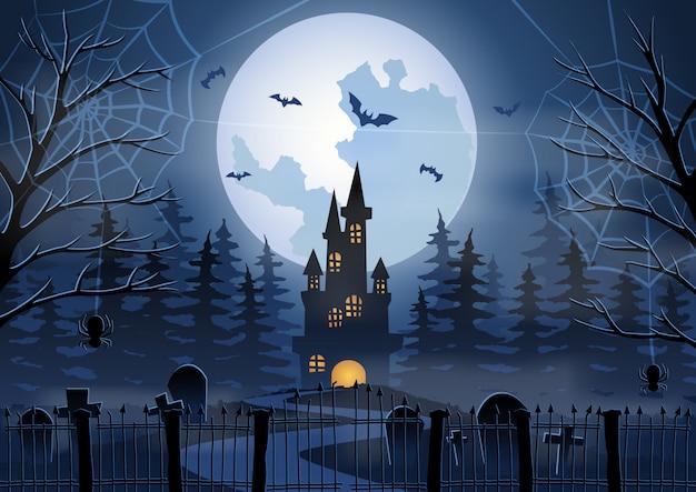 Fundo de halloween com cena do cemitério e do castelo
