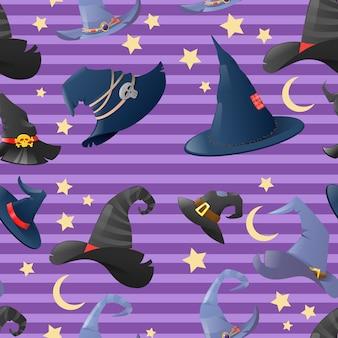Fundo de halloween com coleção de chapéus de bruxa de desenho animado