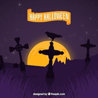 Fundo de halloween com corvo e lápides