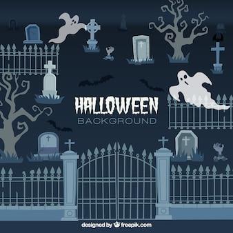 Fundo de halloween com design cementery