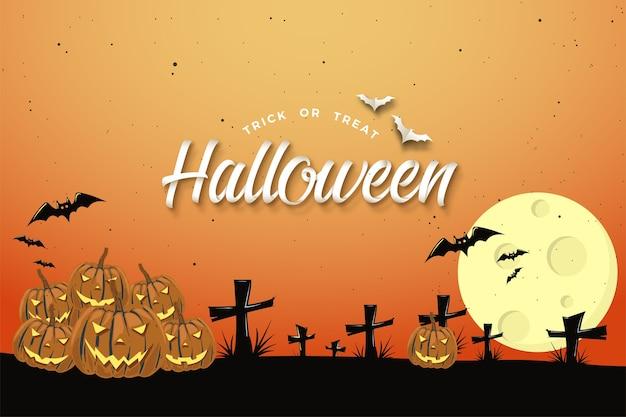 Fundo de halloween com design de cor laranja e escrita 3d.
