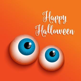 Fundo de halloween com design olhos estranho